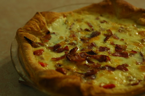 roasted red pepper, onion, bacon, and cheese quiche (#249)