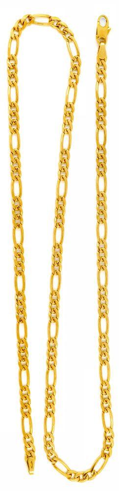 Foto 3, Figaro-Goldkette massiv Gelbgold 50 cm 14K/585 Shop Neu, K2980