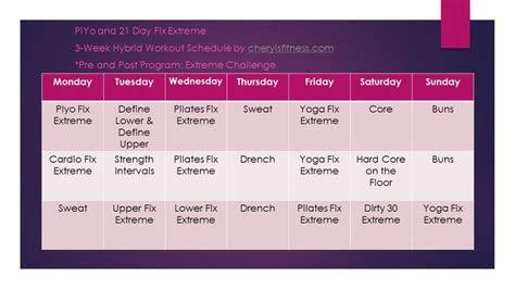 piyo   day fix extreme hybrid schedule