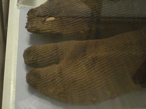 Ancient Coptic Egyptian socks detail nalbinding knotless netting