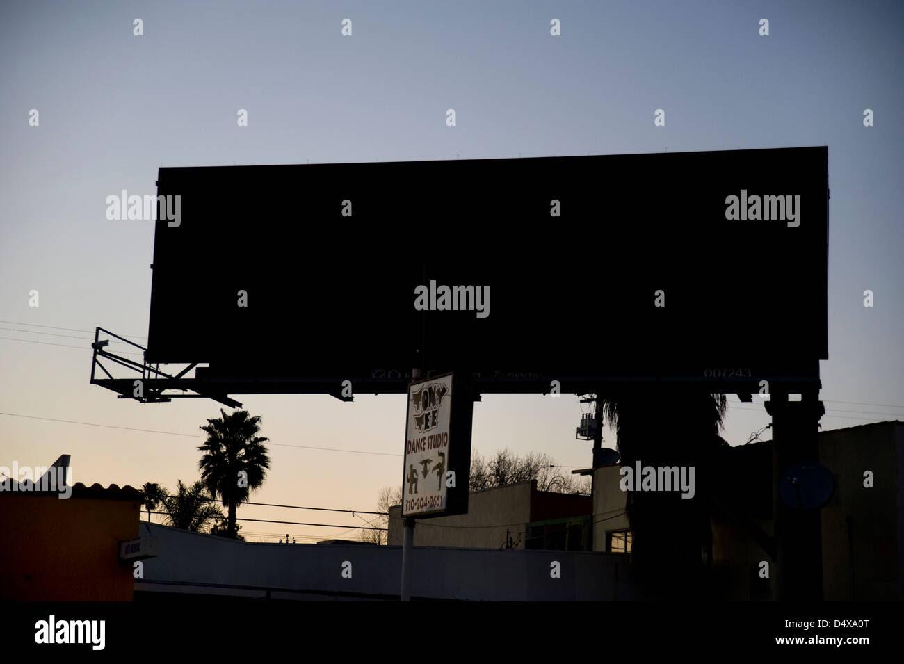 Blank Digital Billboard At Dusk In Los Angeles Stock Photo ...