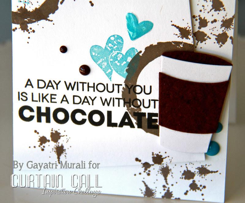 Chocolate love card closeup