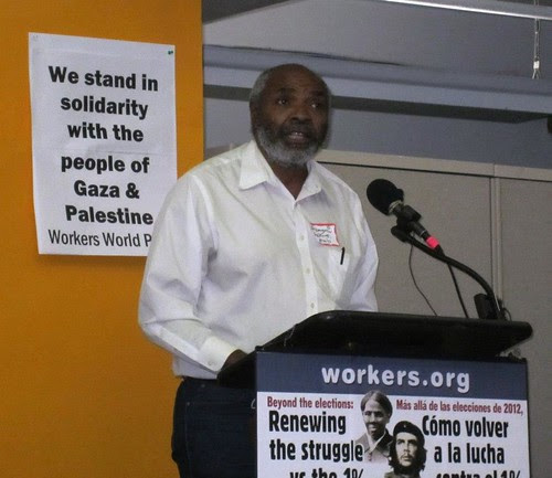 Abayomi Azikiwe, editor of the Pan-African News Wire, addressing the national Workers World conference in New York City on November 18, 2012. Azikiwe discussed the impact of the world capitalist crisis on Africa-U.S. relations. by Pan-African News Wire File Photos
