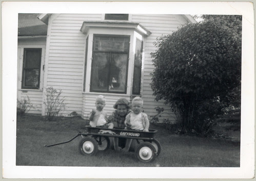Three children and wagon