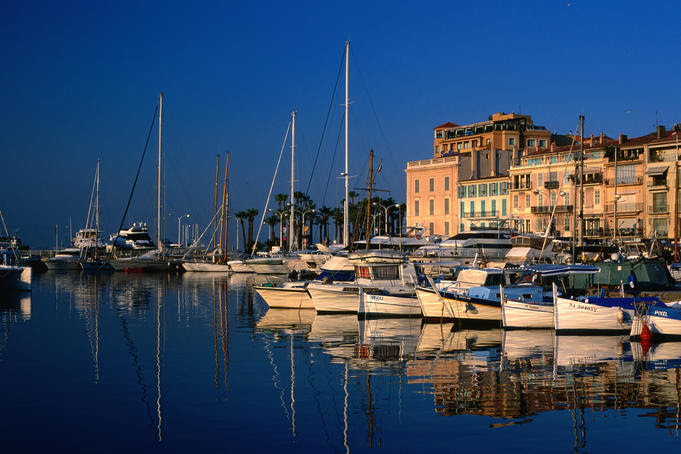 Early morning view across harbour, Alpes-Maritimes region.