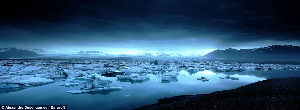 Ethereal: Taken at midnight at the Jokulsarlon Lagoon, photographer Alexandre Deschaumes said the light gives an otherworldly feel to the images