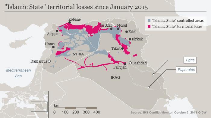 Infografik Gebietsverluste des IS seit Januar 2015 Englisch