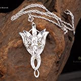 OK-STORE Jewelry the Lord of the Rings 925 Sterling Silver Arwen Evenstar Necklace Pendant Women's Jewerly