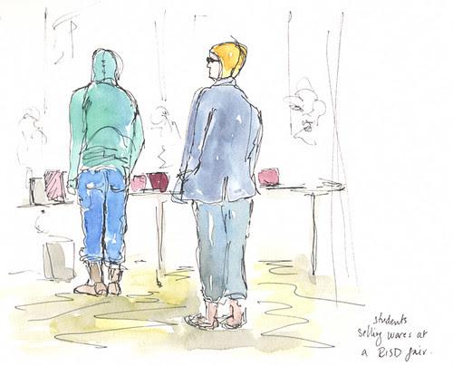 Sketchcrawl 31: RISD student vendors at street market, Providence, RI