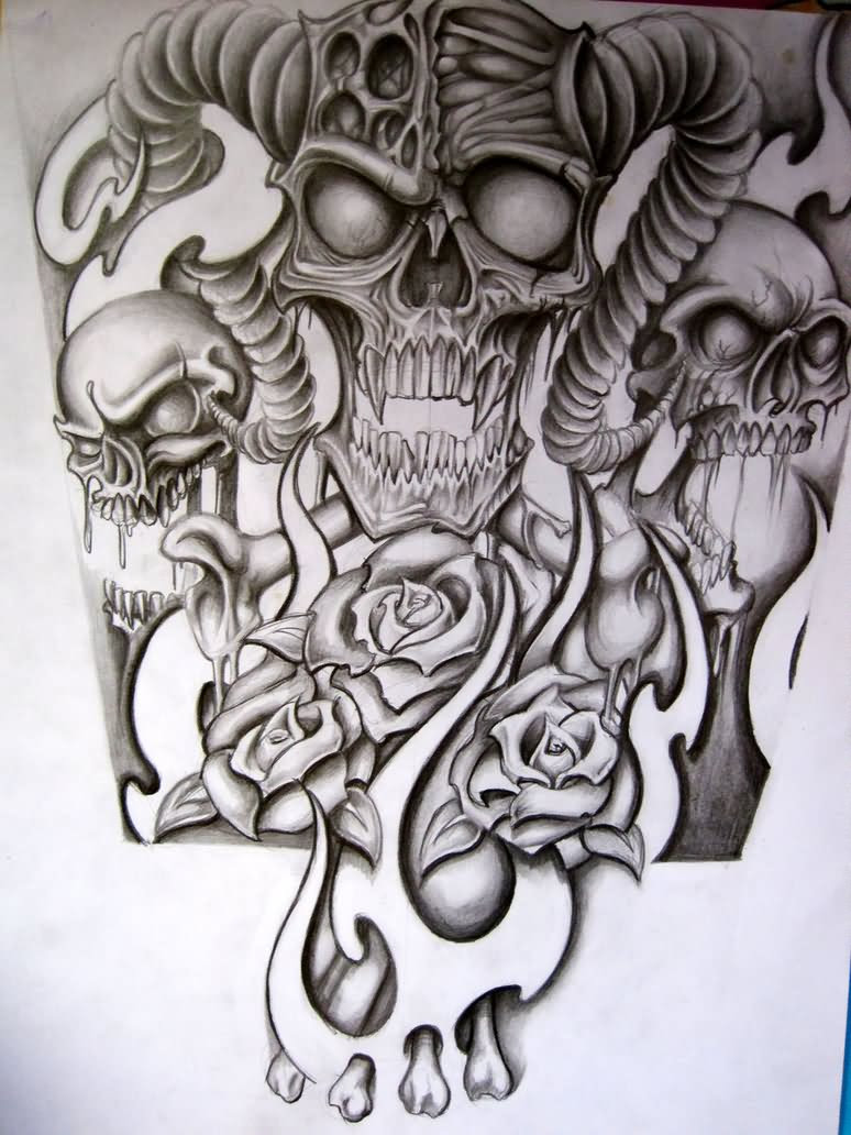 Skull Sleeve Drawing At Getdrawingscom Free For Personal Use