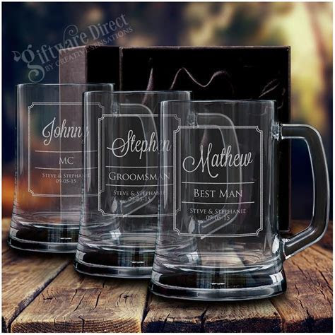 Personalised engraved beer mug wedding glass stein for
