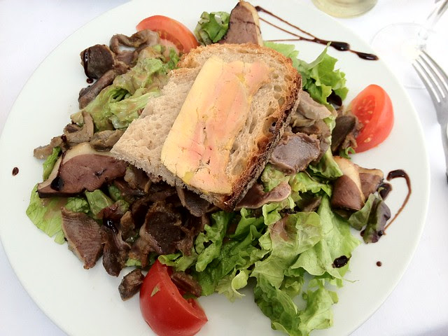 Salade Soud Ouest in Toulouse - with foie gras and gizzards.