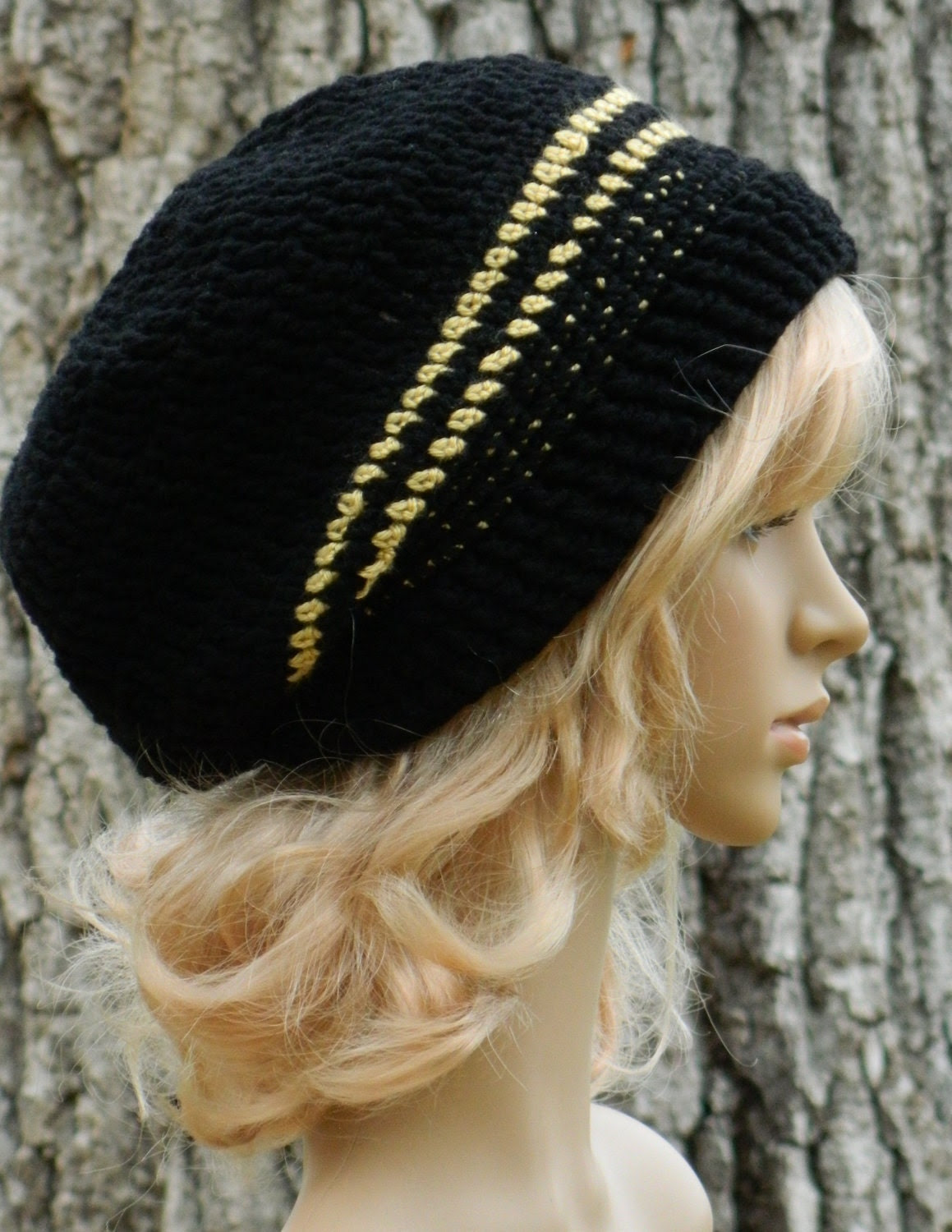 Winter Slouchy Beanie Boho For Women Men Teens In Black and Metalic Gold