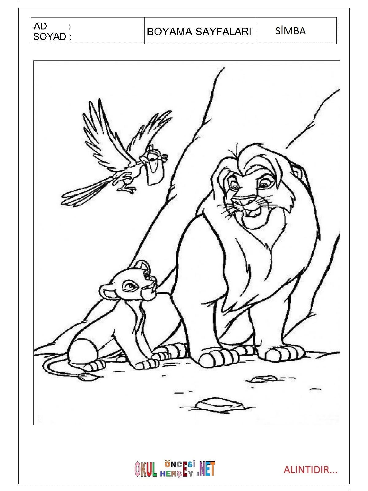 Simba Boyama Sayfaları