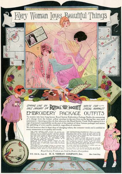 """""""Royal Society Embroidery Package Outfits"""" ad, 1923"""