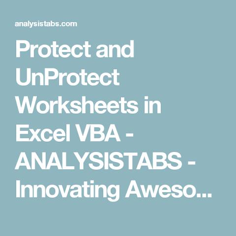 84+ Excel Worksheet Unprotect Vba