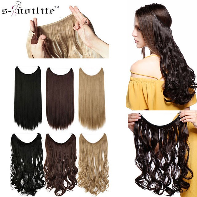 Under (Add Your Price Ranges)-SNOILITE 20 inches Invisible Wire No Clips in Hair Extensions Secret Fish Line Hairpieces Silky Straight real natural Synthetic Best Offers