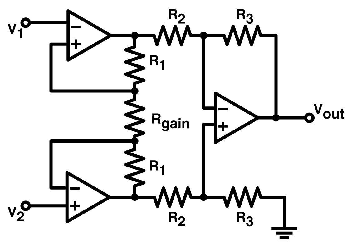 Practical Uses Of Instrumentation Amplifiers Lekule Blog 20ma Signal Converter Further Ac Generator Circuit Diagram Likewise The Two Buffer Amps Provide Nearly Infinite Input Impedance As Well Gain While Differential Amp Produces An Additional Layer And A