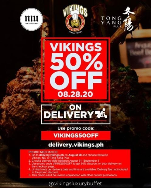 Vikings – GET 50% OFF ON YOUR DELIVERY on 08.28.20