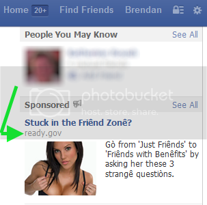 facebook ad showing buxom woman, offering sex tips. displaying the URL ready.gov