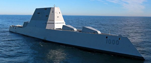 The USS Zumwalt conducts sea trials out in the Atlantic Ocean, on December 7, 2015.