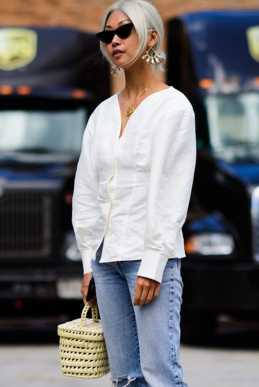 Le Fashion Blog 15 White Blouses To Shop For Spring Via Elle