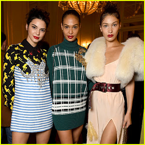 Kendall Jenner, Joan Smalls, & Bella Hadid Glam Up for Miu Miu's Paris Show