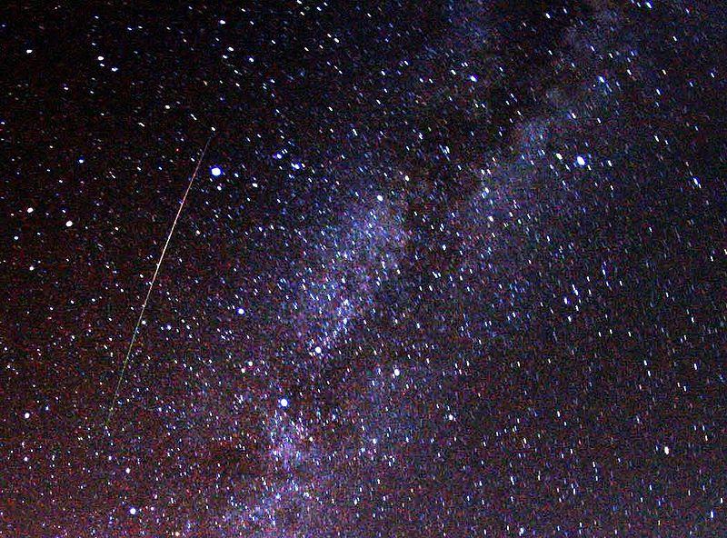 File:Perseid meteor and Milky Way in 2009.jpg