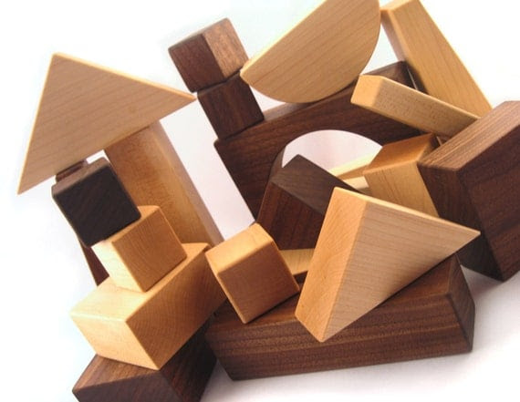 20 piece organic wood blocks - all natural wooden toys, building block set, eco friendly for montessori toddlers, kids, babies