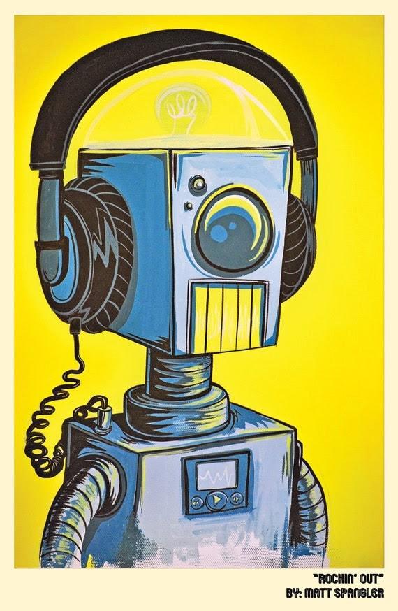 Rockin out, robot print