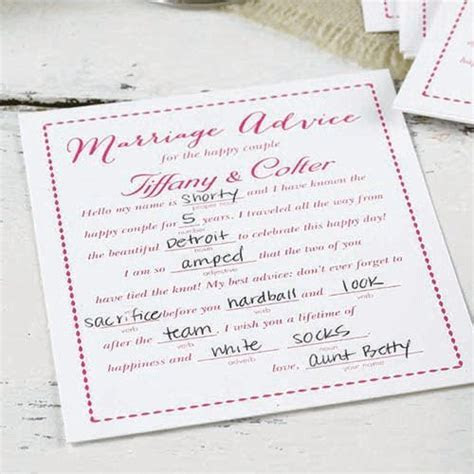 Personalized Advice Cards, Marriage Advice Cards