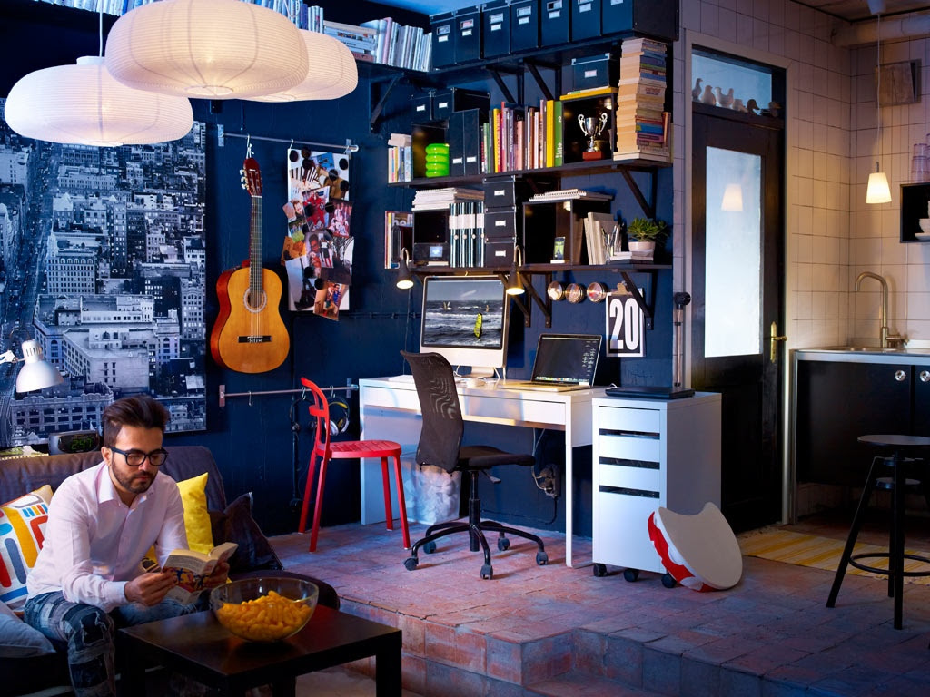 Dark Blue Decor Music Room Work Space Interior Design Ideas