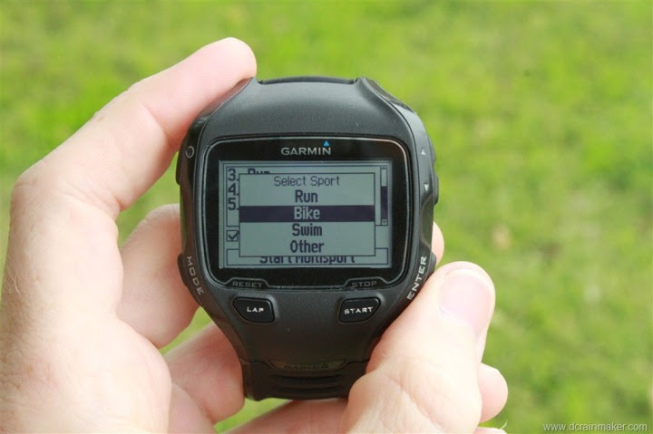 Garmin FR910XT Multisport Mode - Select Sport