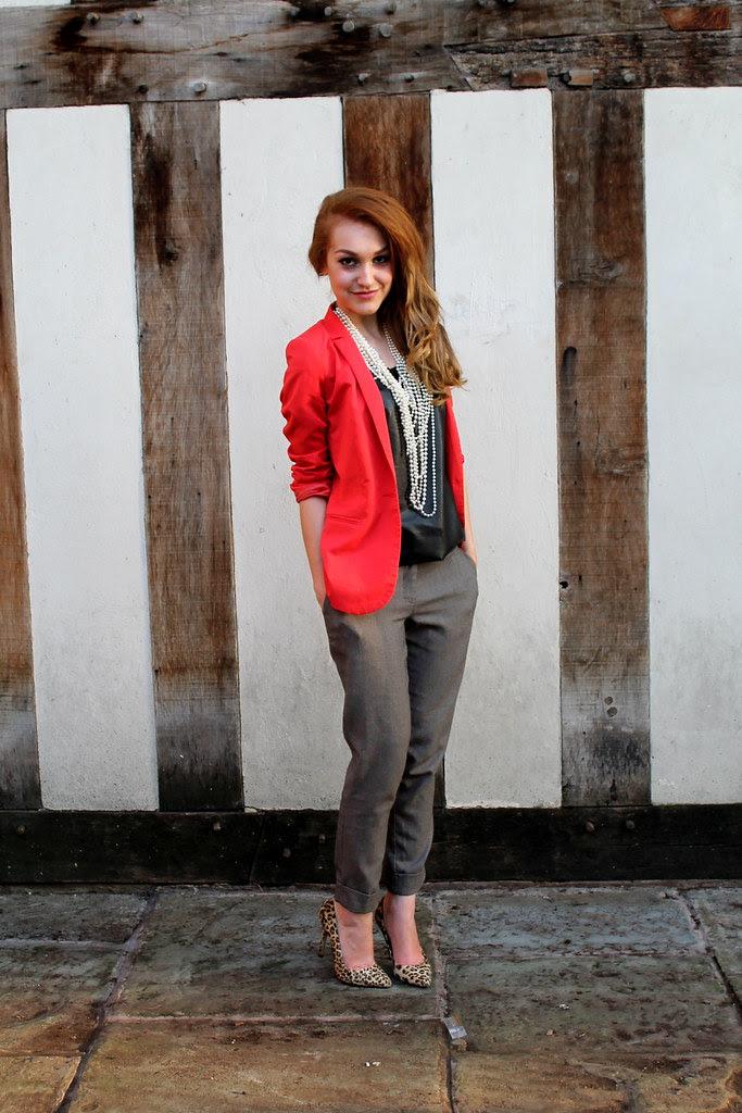 Orange blazer, peg leg trousers