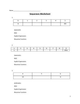 9 Best Images of Arithmetic Recursive And Explicit Worksheet  Arithmetic and Geometric