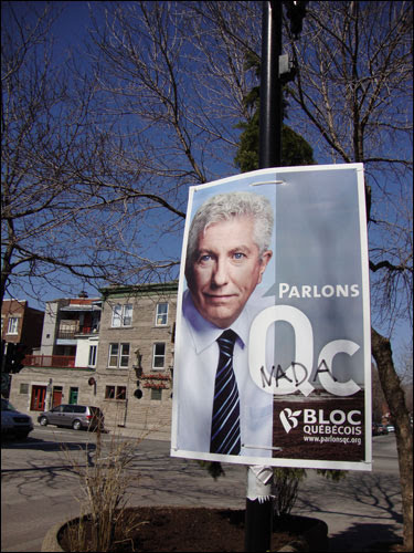 Bloc Quebecois poster with Nada scrawled across it