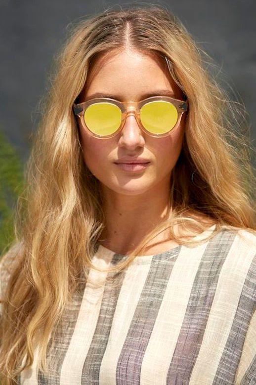 Le Fashion Blog Clear And Yellow Mirrored Sunglasses Blonde Wavy Hair Striped Top Via Krewedu Optic