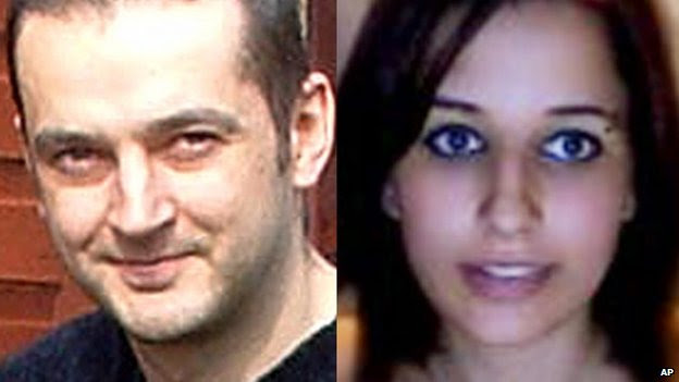In this combination of file photos provided by their family is Mark Drybrough, left, from Coventry, England and Nadia Kajouji, from Brampton, Ontario.