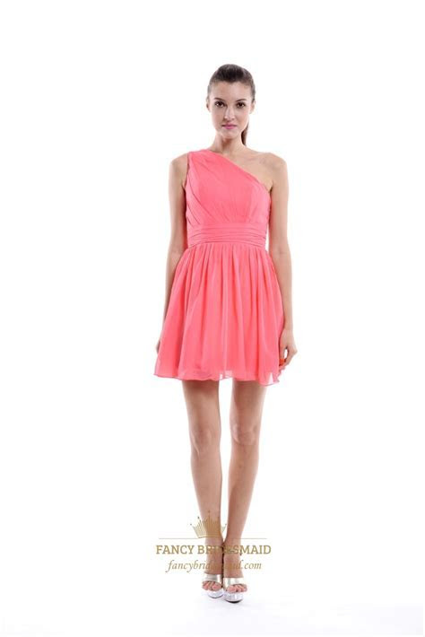 Coral A Line One Shoulder Knee Length Pleated Chiffon