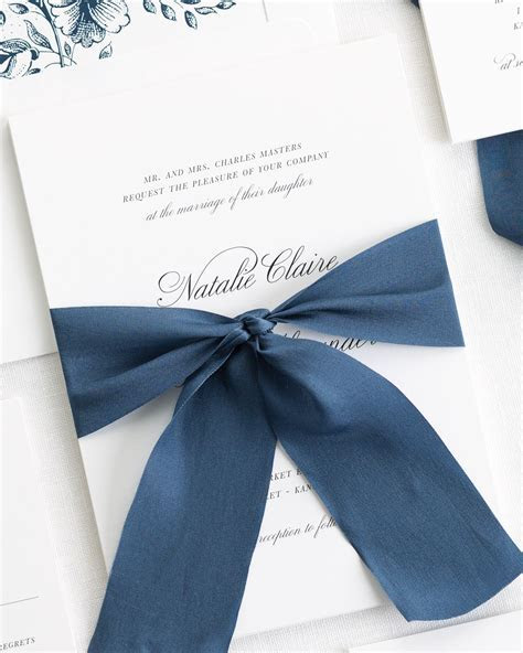Classic Script Ribbon Wedding Invitations   Ribbon Wedding