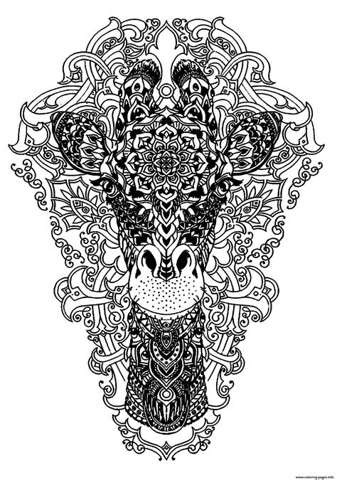 advanced animal head   giraffe coloring pages printable