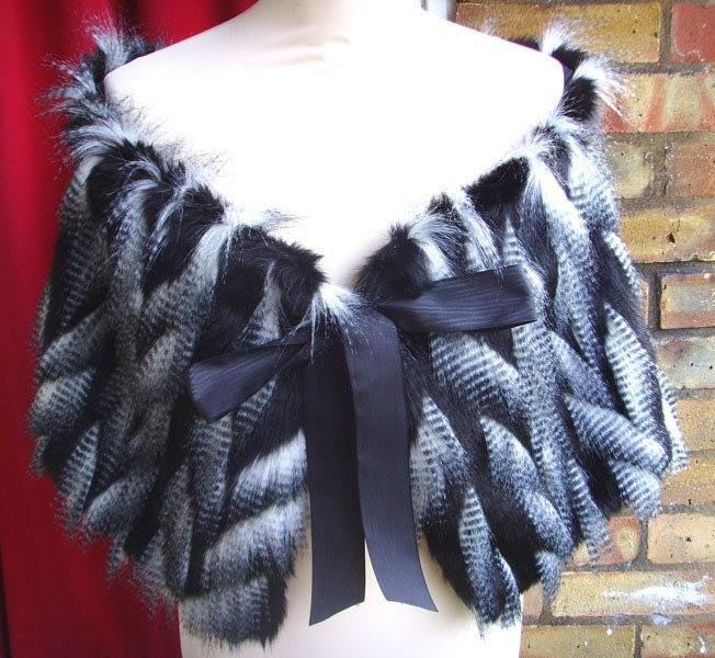 Black white Cryptoskin Fur Stole SAMPLE SALE