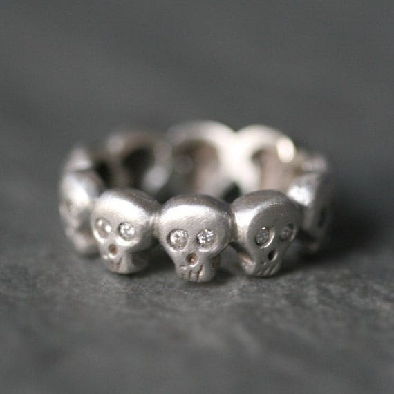 Baby Skull Band Ring in Sterling Silver with Diamonds UNISEX