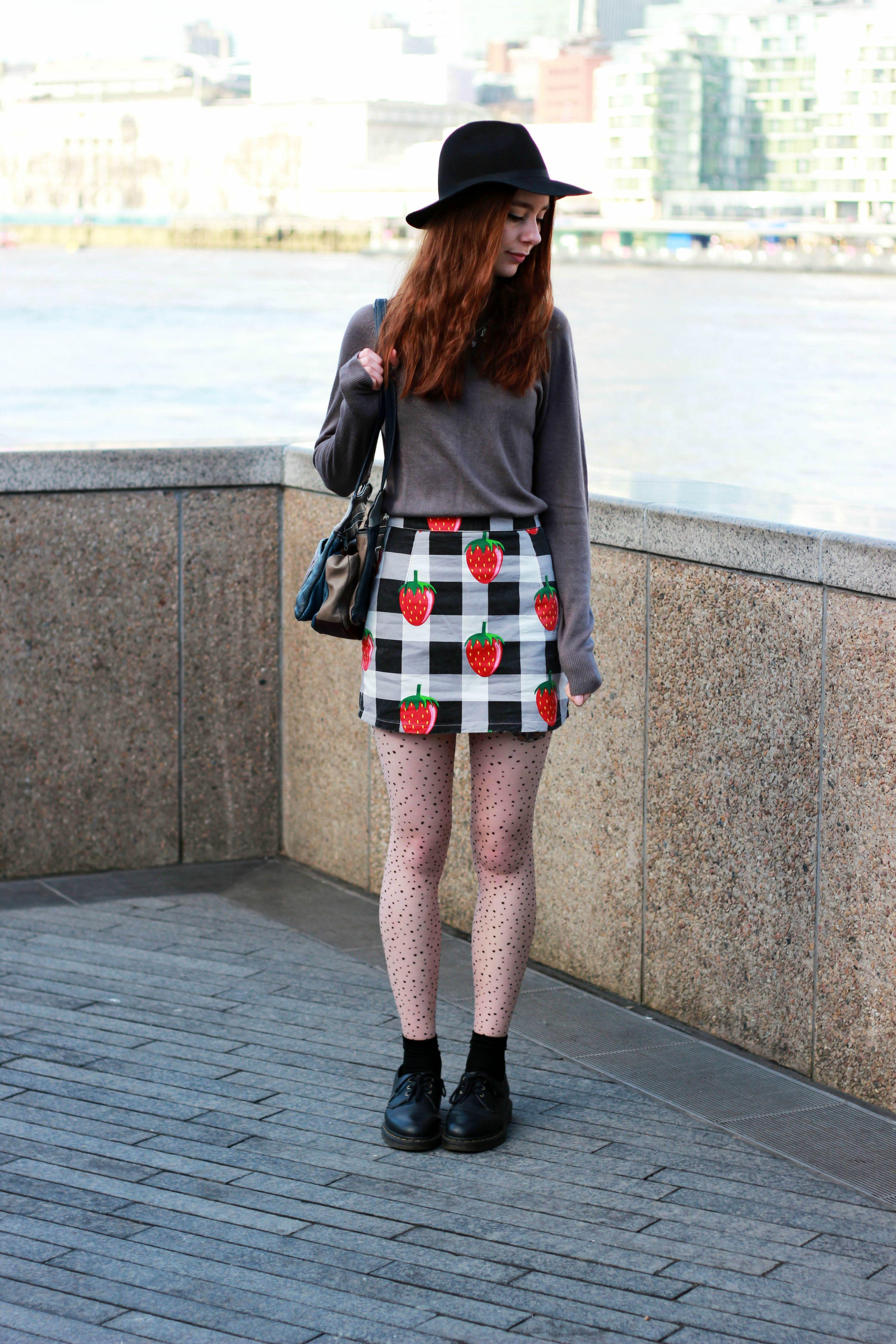 Topshop fedora, Lazy Oaf Skirt, UK Tights