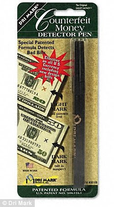 Test: A counterfeit bill detector pen, like the one shown, was used on the bills by the employees but only after they had been ripped according to the woman