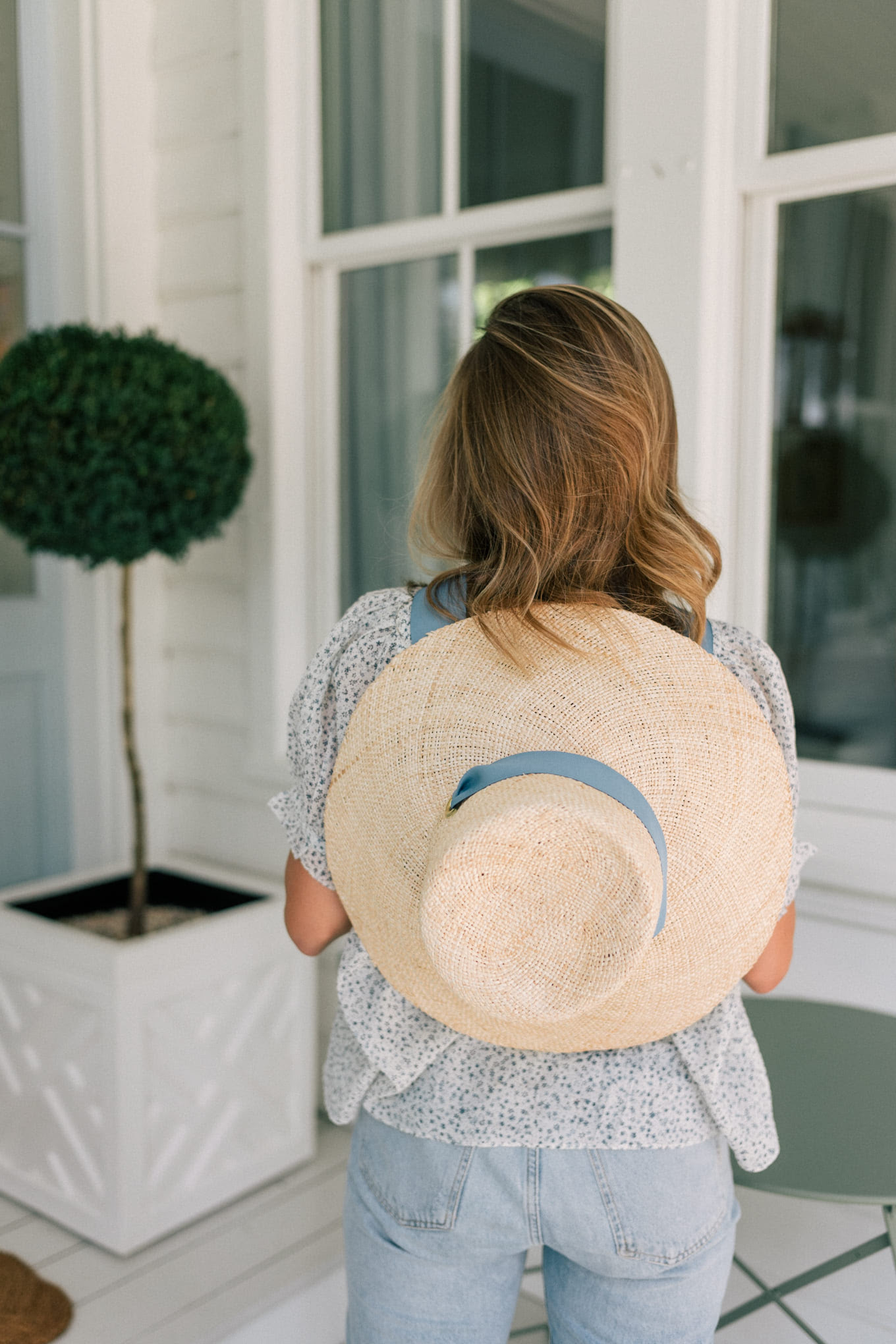 light denim floral top sun hat