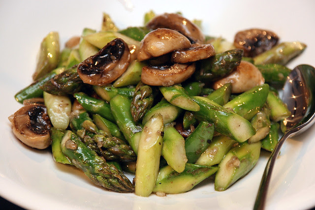 Sauteed wild mushrooms, asparagus, minced garlic