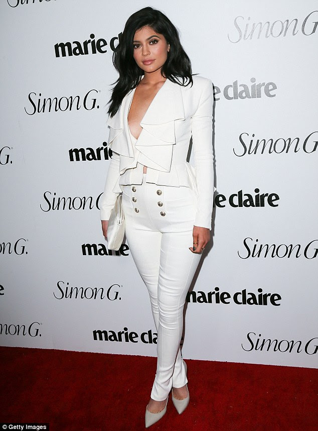 Chest amazing: Kylie Jenner showed she's got some front as she arrived to Marie Claire's Fresh Faces party on Monday in West Hollywood
