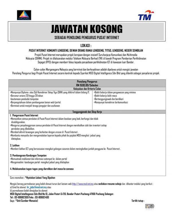 Iklan Jawatan Pusat Internet Malaysia • Portal Kerja ...
