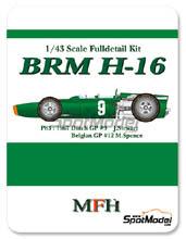 Kit 1/43 Model Factory Hiro - BRM H-16 - Nº 9 - J. Stewart - Gran Premio de Belgica + Holanda 1967 - kit Multimedia